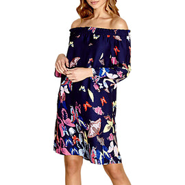 Yumi Bardot Butterfly Dress- Navy
