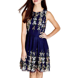 Yumi Embroidered Floral Dress- Navy