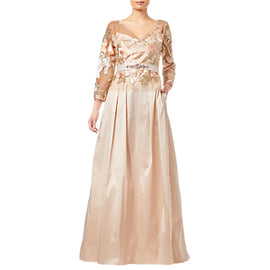 Adrianna Papell Taffeta Dress- Pale Peach/Multi