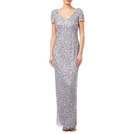 Adrianna Papell Scallop Beaded V Neck Gown- Silver Grey