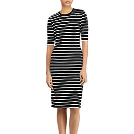 Polo Ralph Lauren Stripe Sweater Dress- Black/Cream