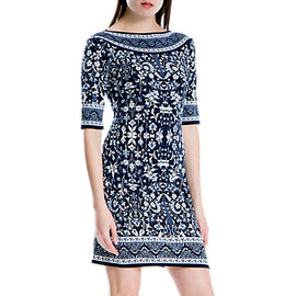 Max Studio Floral Print Jersey Dress- Blue