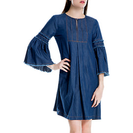 Max Studio Bell Sleeve Denim Dress- Blue