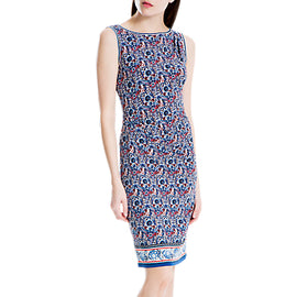 Max Studio Sleeveless Side Ruched Print Dress- Blue/Red