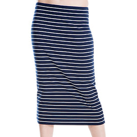 Max Studio Stripe Jersey Midi Skirt- Navy/White