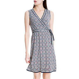 Max Studio Sleeveless Print Jersey Wrap Dress- Blue