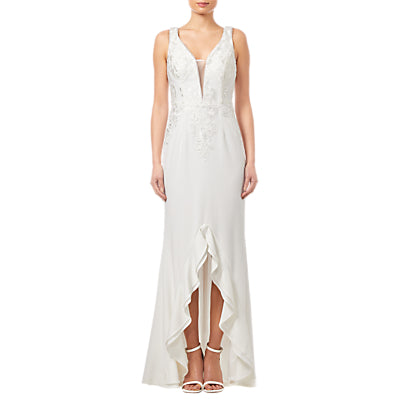 Adrianna Papell Embroidered Gown- Ivory