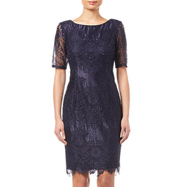 Adrianna Papell Lace Dress- Navy