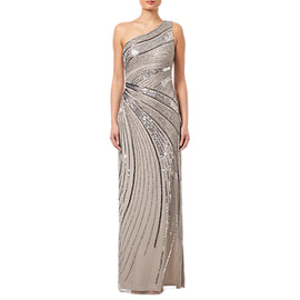 Adrianna Papell Beaded Column Gown- Platinum