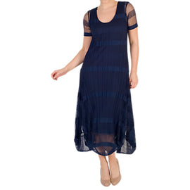 chesca Sheer & Stripe Crush Pleat Drape Dress- Navy