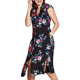 Yumi Curves Floral Split Hem Dress- Black
