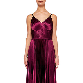 Ted Baker Pleat Satin Maxi Dress- Deep Purple