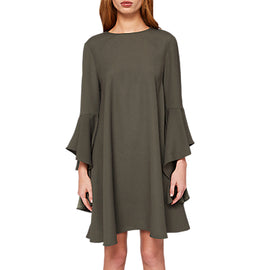 Ted Baker Ashleyy A-Line Waterfall Sleeve Dress- Dark Green