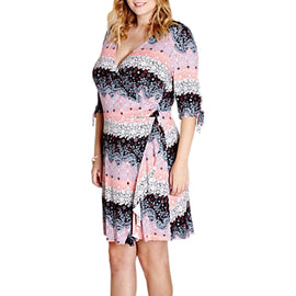Yumi Curves French Wrap Day Dress- Multi