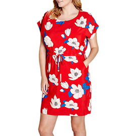 Yumi Curves Floral Dress- Light Red