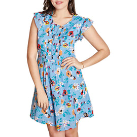Yumi Curves Floral Ladder Front Day Dress- Light Blue