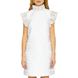 Ted Baker Yandad Jacquard Frill Sleeve Tunic Dress- Natural