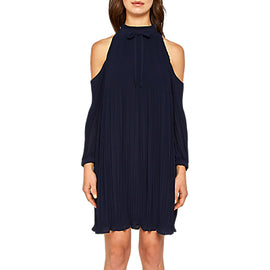 Ted Baker Saniita Pleated Cold Shoulder Dress- Navy