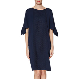 Gina Bacconi Ria Crepe And Lace Dress- Spring Navy