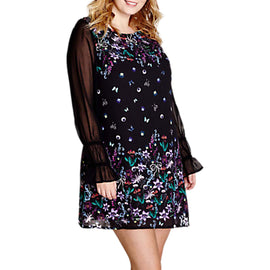 Yumi Curves Floral Shift Dress- Black