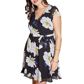 Yumi Curves Floral Print Skater Dress- Multi