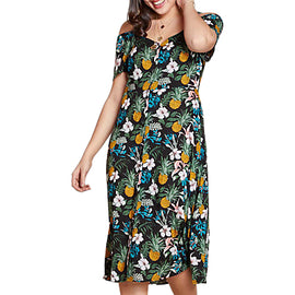 Yumi Curves Tropical Flower Pineapple Dress- Black
