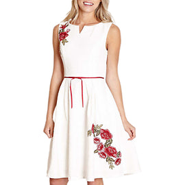 Yumi Embroidered Floral Dress- Ivory
