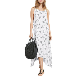 hush Outline Sunstar Print Dress- White/Black