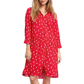 hush Shark Print Emanuelle Dress- Ski Red/White