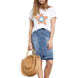 hush Tape Denim Pencil Skirt- Denim