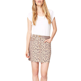 Damsel in a Dress Leopard Alexia Denim Skirt- Brown