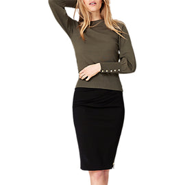 Damsel in a Dress Peyton Button Sleeve Jumper- Khaki