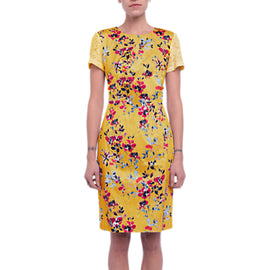 French Connection Linosa Cotton Blend Dress- Citrus/Multi