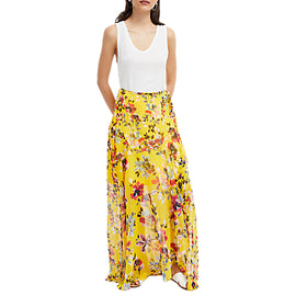 French Connection Wrapover Mix Skirt- Citrus