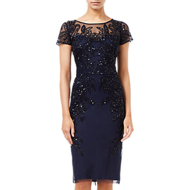 Adrianna Papell Short Sleeve Beaded Cocktail Dress- Midnight