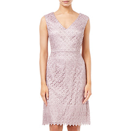 Adrianna Papell Short Guipure Lace Dress- Pink Sateen