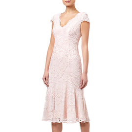 Adrianna Papell Short Lace Dress- Blush