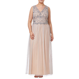 Adrianna Papell Plus Size Beaded Long Dress- Silver/Nude