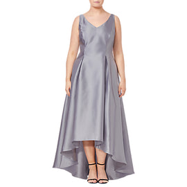 Adrianna Papell Plus Size Sleeveless Long Dress- Silver