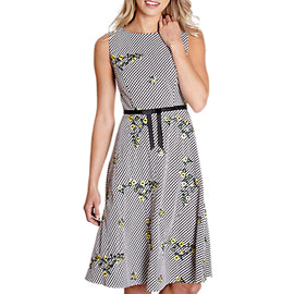 Yumi Floral Embroidered Gingham Dress- Black