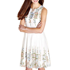 Yumi Embroidered Floral Skater Dress- Ivory