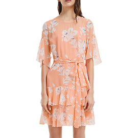 French Connection Alba Tie Waist Ruffle Dress- Peach Blossom