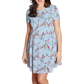 Yumi Curves Floral Vine Swing Dress- Blue