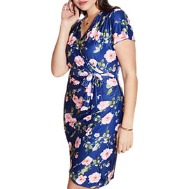 Yumi Curves Rose Wrap Dress- Multi