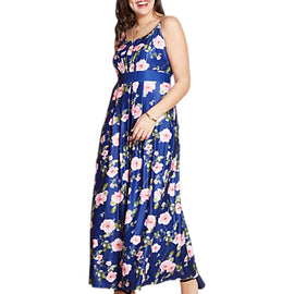 Yumi Curves Pleated Maxi Floral Dress- Multi