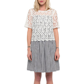 French Connection Sardinia Stripe Flared Dress- Black/Summer White