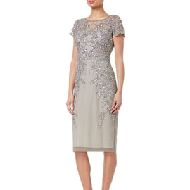 Adrianna Papell Short Sleeve Beaded Cocktail Dress- Platinum
