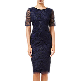 Adrianna Papell Beaded Sheath Dress- Navy/Black
