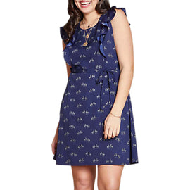 Yumi Curves Ruffled Zebra Dress- Navy