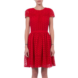 French Connection Parker Lace Dress- Shanghai Red